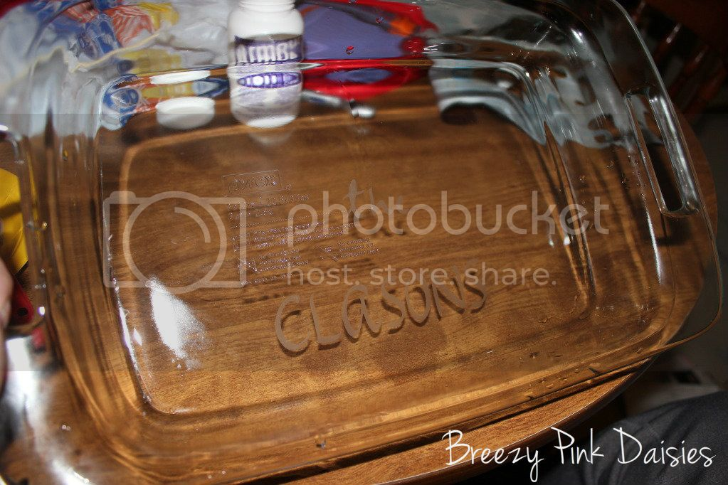 Glass Etched Pyrex Dish {Breezy Pink Daisies}